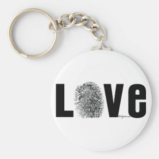Love Fingerprint Black and White Basic Round Button Keychain