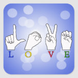LOVE FINGERSPELLED SQUARE STICKERS