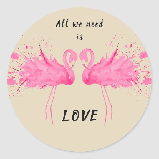 Love flamingo description classic round sticker