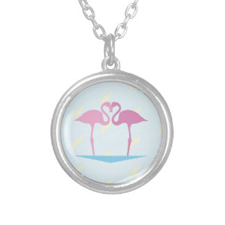 Love Flamingos Silver Plated Necklace