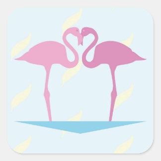 Love Flamingos Square Sticker