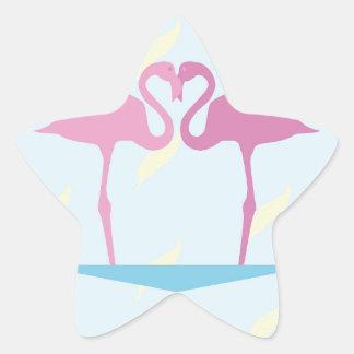 Love Flamingos Star Sticker