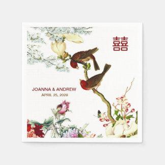 Love Flourishing Birds & Flowers Chinese Wedding © Disposable Napkins