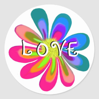 LOVE Flower Classic Round Sticker