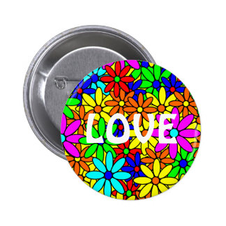 Love Flower Power Collage Pin