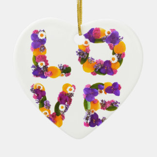 Love Flowers - Flower Typography Ceramic Heart Ornament