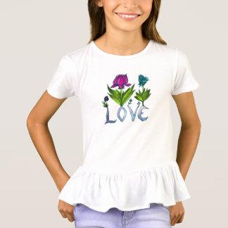 Love Flowers - Girls' Ruffled Tee