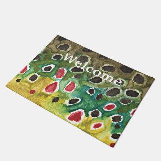Love Fly Fishing Brown Trout Skin Doormat
