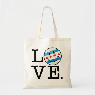 Love for Chicago Smiling Flag Tote Bag