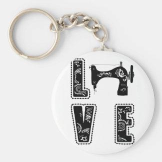 love for sewing basic round button keychain