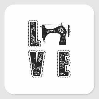 love for sewing square sticker