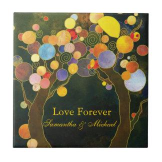 """""""Love Forever"""" Love Trees Wedding Anniversary Gift Ceramic Tile"""