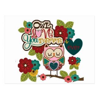 love forever owl postcard