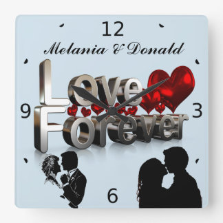 LOVE FOREVER SQUARE WALL CLOCK