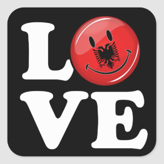 Love From Albania Smiling Flag Square Sticker