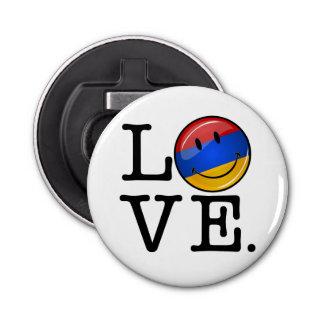 Love From Armenia Smiling Flag Button Bottle Opener