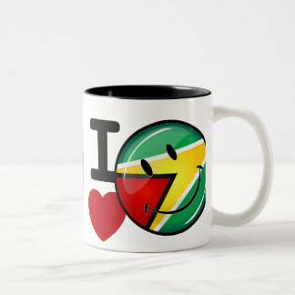 Love From Guyana Smiley Guyanese Flag Two-Tone Coffee Mug
