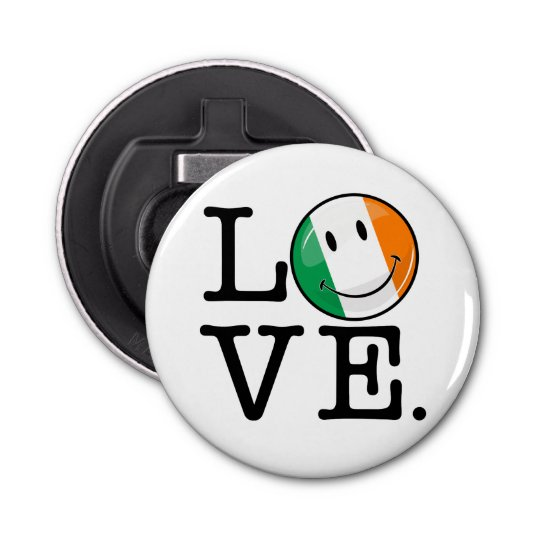 Love From Ireland Smiling Flag Button Bottle Opener