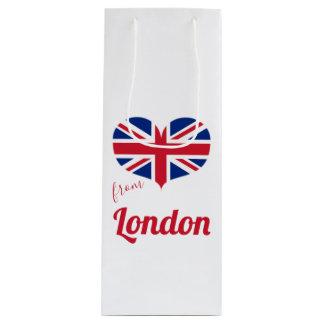 Love from London   Heart Shaped UK Flag Union Jack Wine Gift Bag