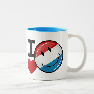 Love From Luxembourg Smiling Flag Two-Tone Coffee Mug