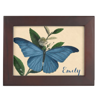 Love From Mom/Vintage Blue Butterfly Custom Keepsake Box