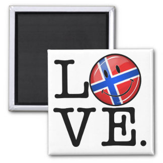 Love From Norway Smiling Flag Magnet