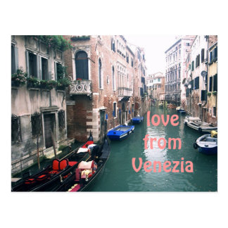 """LOVE FROM VENEZIA"" CANAL SCENE POSTCARD"