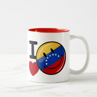 Love From Venezuela Smiling Flag Two-Tone Coffee Mug