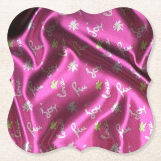 Love,Fun and Joy-Silk,pink Paper Coaster