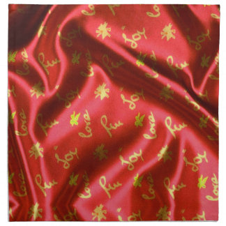 Love,Fun and Joy-Silk,red Napkin