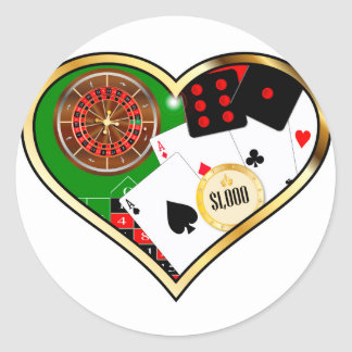 Love Gambling Round Sticker