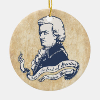 Love = Genius -Mozart Round Ceramic Ornament