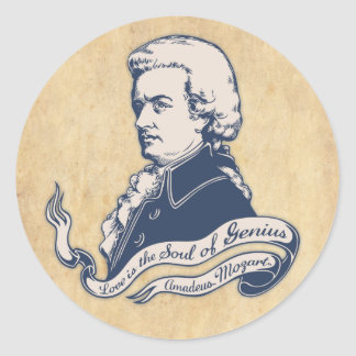 Love = Genius -Mozart Round Sticker