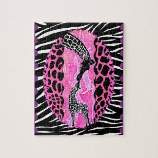 Love Giraffe Pink Animal Print Jigsaw Puzzle