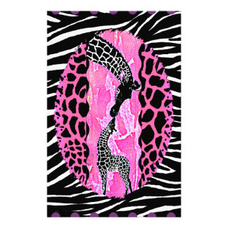 Love Giraffe Pink Animal Print Stationery