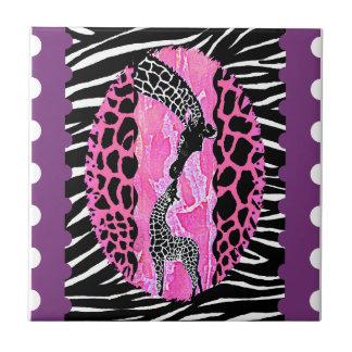 Love Giraffe Pink Animal Print Tile