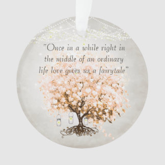 Love gives us Fairy Tale Heart Leaf Tree Wedding Ornament