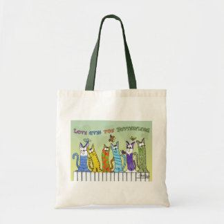 Love Gives you Butterflies-Cats on Fence Budget Tote Bag