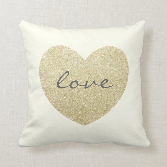 """""""Love"""" Glitter golden heart-Print Throw Pillow"""