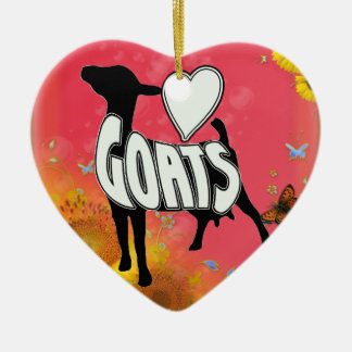 LOVE GOATS CHRISTMAST HEART ORNAMENT