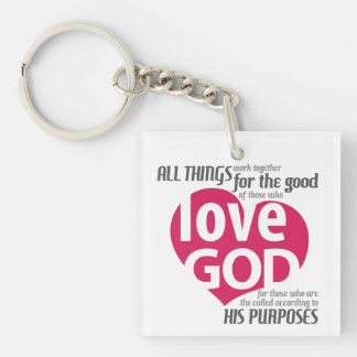 Love GOD Key-chain Double-Sided Square Acrylic Keychain