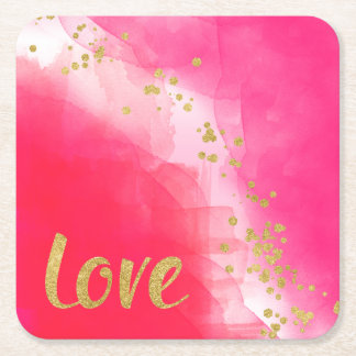 Love Gold Glitter Confetti Watercolor Red Pink Square Paper Coaster