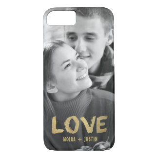 Love Gold Hand Painted Couples Photo Overlay Case
