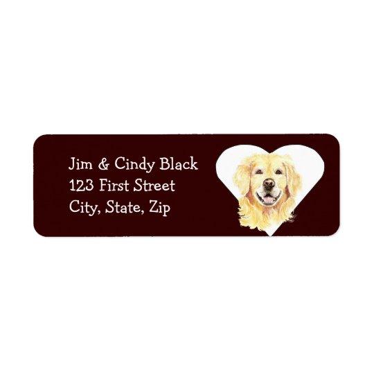 Love Golden Retriever  Dog Address Label