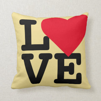 Love Golden Yellow Room Home Decor Throw Pillow