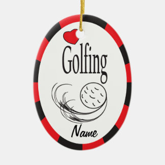 Love Golfing Red and Black Oval Ceramic Oval Ornament