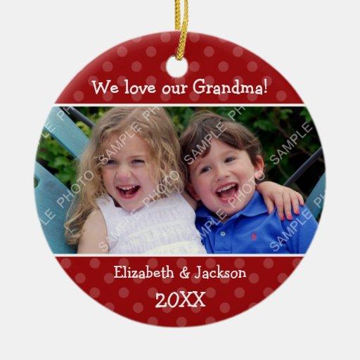 Love Grandma Red Polka Dot Christmas Photo Christmas Tree Ornament