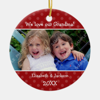 Love Grandma Red Polka Dot Christmas Photo Round Ceramic Ornament