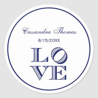LOVE Graphic Text - Blue Classic Round Sticker