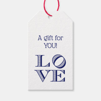 LOVE Graphic Text - Blue Gift Tags